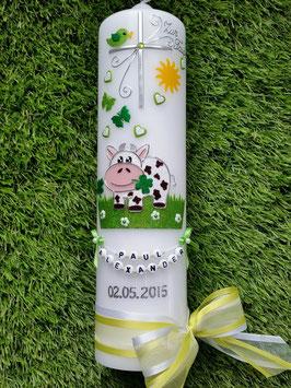 Taufkerze TK280 Kuh Apfelgrün-Grasgrün Holoflitter