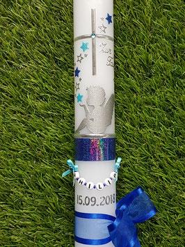 Taufkerze SK154-1 SCHUTZENGEL sitzend mit Sterne in Dunkelblau-Pastellblau Holoflitter & Silber