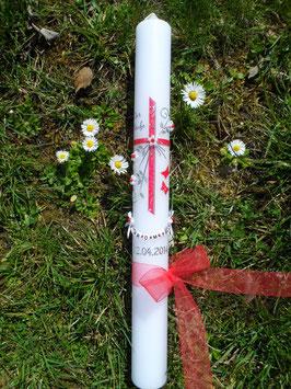 Kommunionkerze - Konfirmationskerze Junge Mädchen KK132 Rot Glitzer