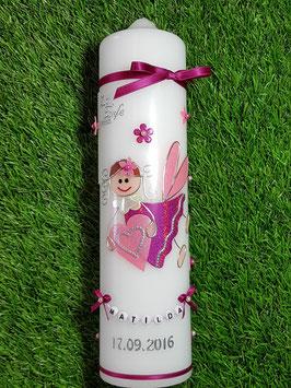 Taufkerze SK116 Schutzengel Mädchen Pink-Rosa Holoflitter mit Blüten