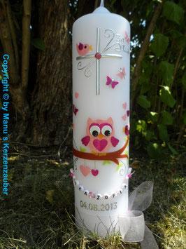 Taufkerze EULE das Original mit Buchstaben-Kette TK181 in Rosa-Pink Holoflitter