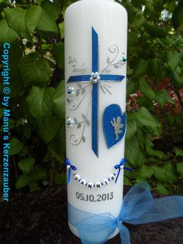Taufkerze TK134 Herz mit Engel in Dunkelblau Holoflitter