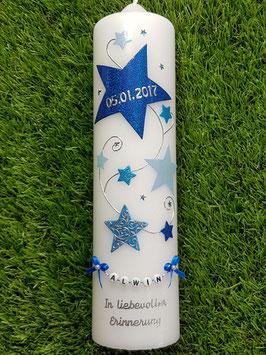 Taufkerze od. Kerze für Sternenkinder KSK300 Dunkelblau-Hellblau-Lichtblau / Buchstabenkette