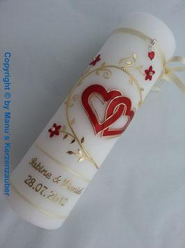 Hochzeitskerze Rot-Creme-Gold HK204 Klassisch