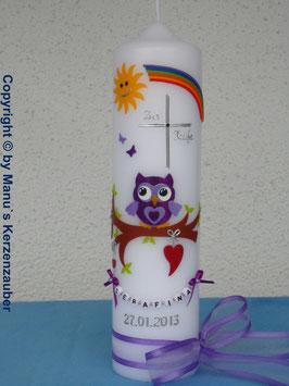 Taufkerze EULE mit Regenbogen & Kette TK181 Brombeerlila-Flieder Flitter