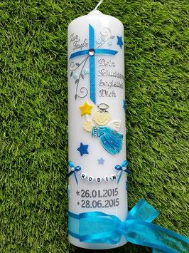 Taufkerze SK150 Schutzengel Kreuz mit Sterne/  Türkis-Hellblau Hololfitter / Satin-Organzaband