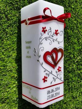 Hochzeitskerze HKS218 Bordeaux & Braun mit Silber