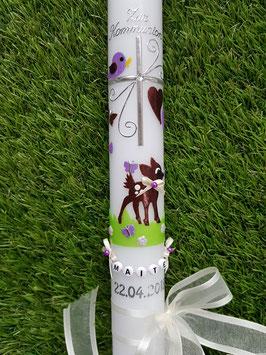 Kommunionkerze Bambi TK188 Braun-Flieder-Creme Flitter & Buchstabenkette©
