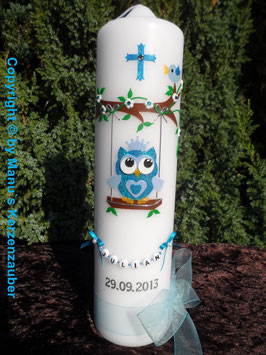 Taufkerze EULE auf Schaukel TK181-05 Türkis-Hellblau Flitter
