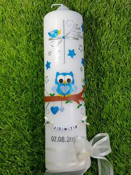 Taufkerze EULE das Original mit Sterne & Buchstaben-Kette TK181 in türkis-hellblau Flitter/Bänder Creme