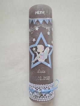 Vintage Taufkerze Silhouetten Schutzengel SK154-5-V mit Stern / Kerze in Anthrazit / Silber-Hellblau Holoflitter