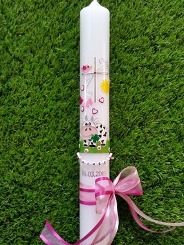 Kommunionkerze TK280 Kuh Rosa-Pink Holoflitter