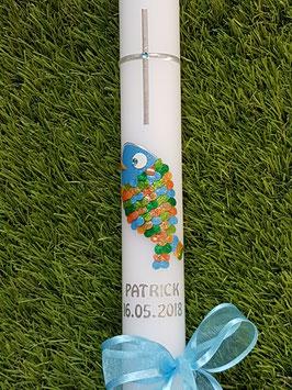 """Tauf oder Kommunionkerze Fisch Herzschuppen© TK196 Lichtblau-Kürbis-Orange-Apfelgrün-Grasgrün >> DAS ORIGINAL©"""""""