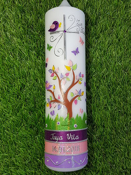 Taufkerzen  Lebensbaum Brombeerlila-Rosa-Flieder-Pink-Apfelgrün & Silberschrift TK400-U