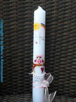 Kommunionkerze EULE das Original mit Buchstaben-Kette KK181 Rosa-Pink Flitter