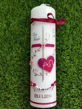 Taufkerze Alpha & Omega TK101 Klassisch Pink-Rosa Holoflitter