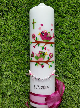 Taufkerze Vögelchen TK 213 Pink-Rosa-Apfelgrün Flitter