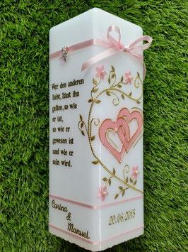 Hochzeitskerze HKS213 Rosa Uni mit Gold