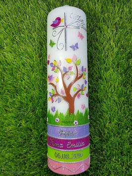 Taufkerzen  Lebensbaum Flieder-Pink-Apfelgrün-Rosa Flitter & Silberschrift TK400-U