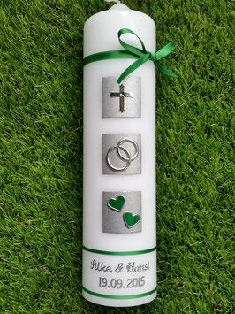 Sehr edle Hochzeitskerze HK210-5 Grasgrün Holoflitter-Silber