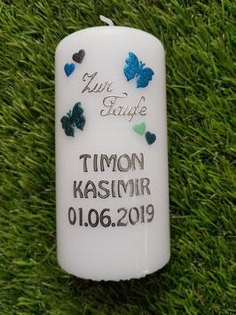 Patenkerze mit Herzen & Schmetterlinge in Türkis, Pastellmint & Petrol Holoflitter