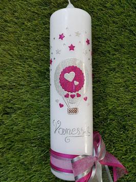 Taufkerze TK105 Heißluftballon in Pink-Silber Holoflitter/ Name handgelegt & Swarovskisteinchen