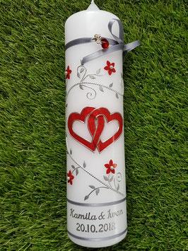 Hochzeitskerze Rot Holoflitter & Silber Bänder HK204 Klassisch