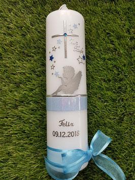 Taufkerze SK154-1 SCHUTZENGEL sitzend mit Sterne Silber-Hellblau-Dunkelblau Holoflitter / Silber Schreibschrift