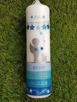 Taufkerze Schutzengel mit Bambi TK152-a-U-K mit Untergrund /Hellblau-Pastellblau-Türkis-Dunkelblau Holoflitter