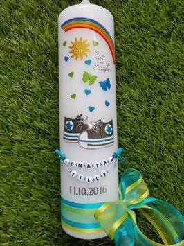 Taufkerze TK099-1 Babychucks Türkis-Apfelgrün-Anthrazit Holoflitter / Regenbogen