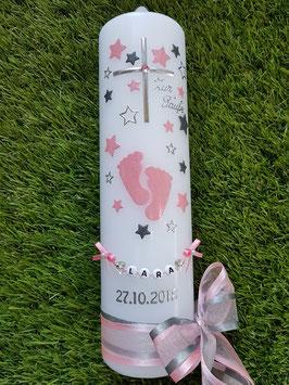 Taufkerze TK096 Große Füsschen Rosa-Anthrazit Holoflitter mit Silber