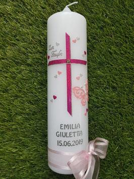 Taufkerze TK123 Kreuz mit Silhouetten-Schmetterling / Pink-Rosa Holoflitter