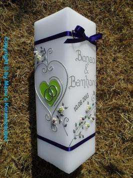 Hochzeitskerze HKS212 Lila-Apfelgrün