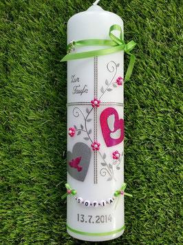 Taufkerze TK109 Klassisch Pink Holoflitter >Bänder Apfelgrün< & Buchstabenkette