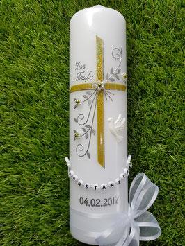 Taufkerze TK139 Taube Lindgrün Holoflitter / Buchstabenkette