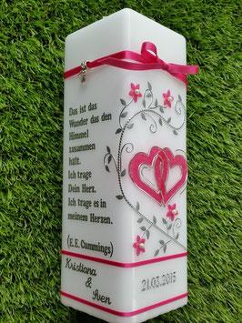 Hochzeitskerze HKS220 Silber Bänder Fuchsia Holoflitter