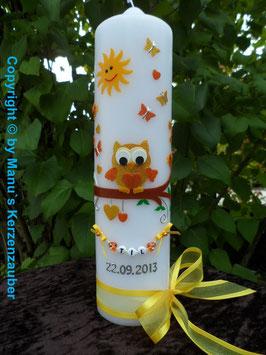 Taufkerze EULE mit Sonne & Kette TK181 in Gelb-Orange Holoflitter