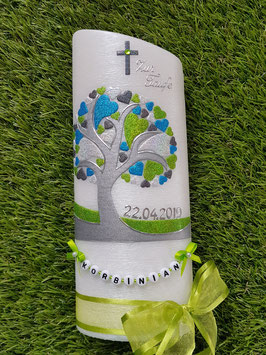 Taufkerze TK401 Lebensbaum mit Herzen & Buchstabenkette Apfelgrün-Türkis-Anthrazit-Silber Holoflitter
