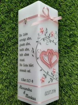 Hochzeitskerze HKS216 Rosa Holoflitter