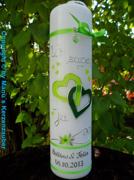 Hochzeitskerze Apfelgrün-Dunkelgrün Uni HK205 Wir sagen ja!