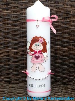Schutzengelkerze Mädchen lange Haare SK104 Rosa Holoflitter / Buchstabenkette