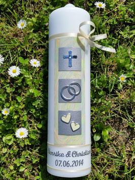 Sehr edle Hochzeitskerze HK210 Perlmutt-Creme-Silber mit Kreuz