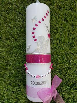 Taufkerze SK154-1 SCHUTZENGEL sitzend Silber / Pink-Silber Holoflitter / mit Bambi & Ohne Kreuz