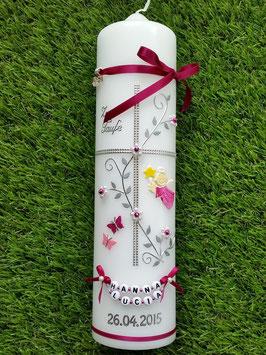 Taufkerze Kreuz TK109-7 Pink Holoflitter-Silber mit 2 Schmetterlingen