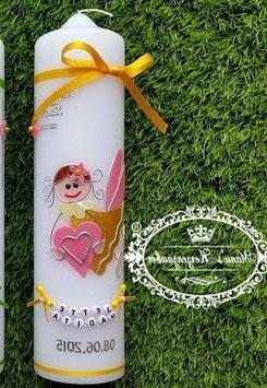 Taufkerze SK116 Schutzengel Mädchen Gelb-Rosa Holoflitter mit Blüten