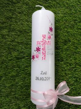 Taufkerze Kreuz Blumenwind TK230 Rosa-Pink / Schleifen Zartrosa / Silberschrift