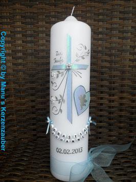 Taufkerze TK134 Herz mit Engel in Hellblau Flitter