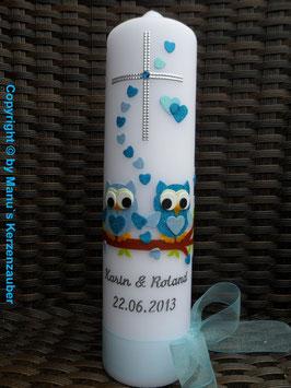 Hochzeitskerze Verliebte Eulen HK216 Türkis-Hellblau Flitter mit Kreuz!