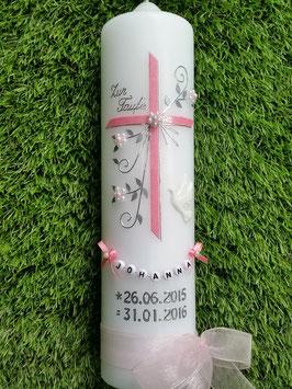Taufkerze TK139 Taube Rosa Flitter / Buchstabenkette