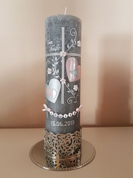 Taufkerze TK109-V Zartrosa Holoflitter & Buchstabenkette / Ohne Kerzenständer (Separat erhältlich)